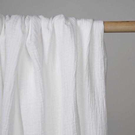 tissu double gaze de coton blanc casse x 10 cm