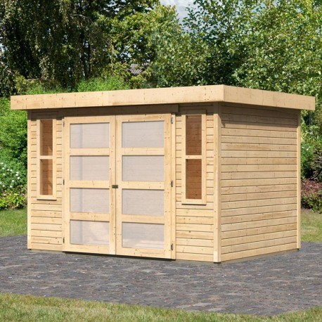 abri de jardin toit plat 6 55m bois brut 19mm muhlendorf 4 karibu