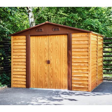 abri de jardin en metal aspect bois 6 62m kit d ancrage x metal