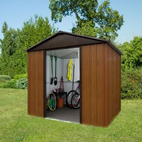 abri de jardin metal aspect bois et marron 5 97m kit d ancrage inclus yardmaster
