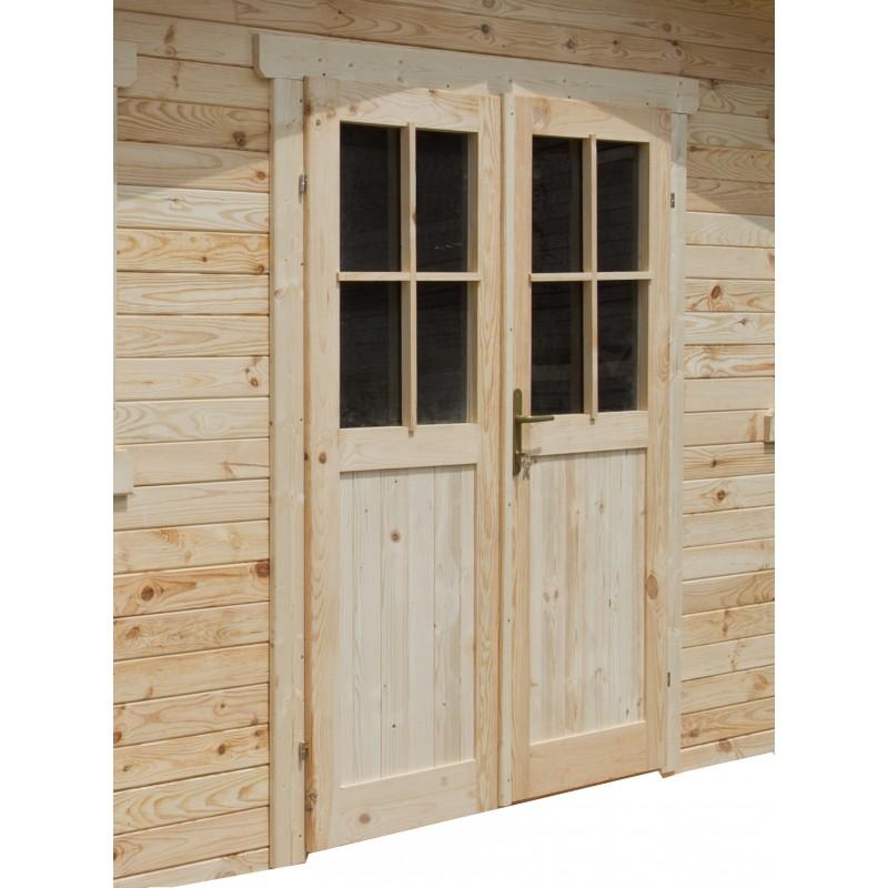 double porte semi vitree bois brut cadre epaisseur 28mm pour abri gardy shelter