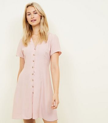Pale Pink Button Front Tea Dress
