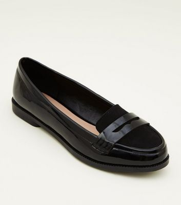 Ladies Black Patent Loafer Shoes