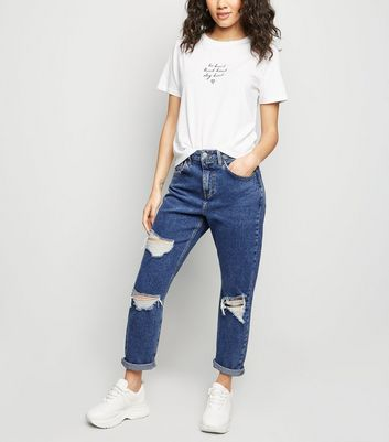Petite blue ripped mom jeans also high waisted new look rh newlook