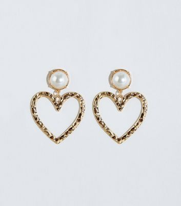 Gold Heart Faux Pearl Earrings