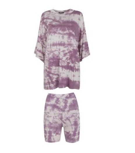 Dark Purple Tie Dye Cycling Short Set