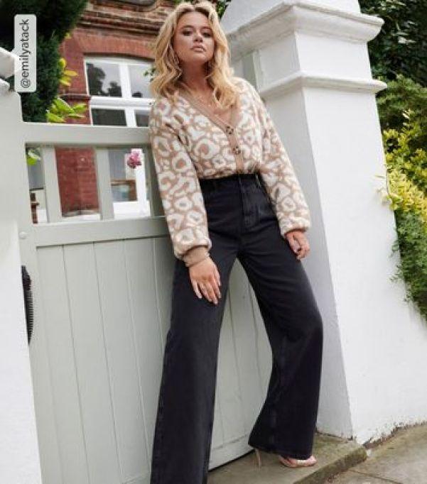 Black High Waist 90s Adalae Wide Leg Jeans new look
