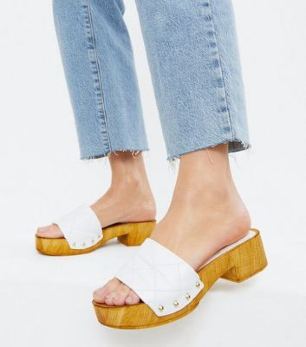 White Leather Quilted Clogs New Look
