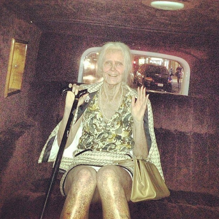 Heidi Klum gave a glimpse of her over-the-top Halloween costume — an elderly woman!<br /><br /> Source: Instagram user heidiklum<br /><br />