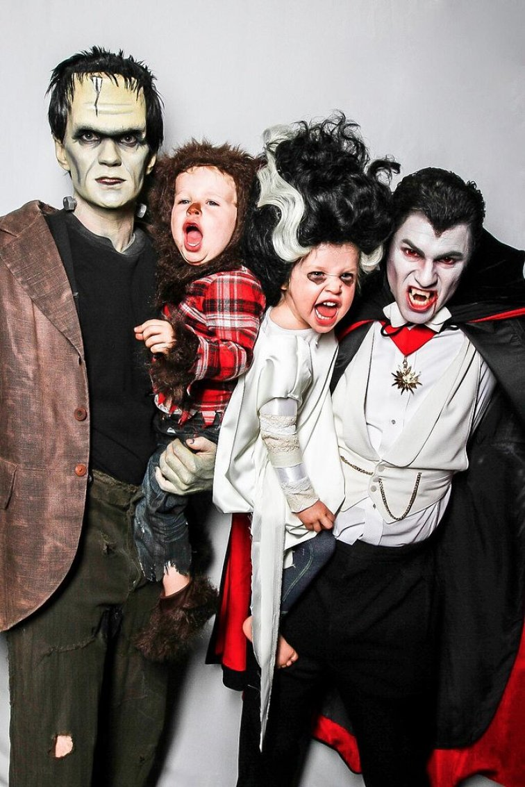Neil Patrick Harris and his husband David Burtka dressed as Frankenstein and Dracula while their twins, Gideon and Harper, went as a werewolf and Wife of Frankenstein.<br /><br /> Source: Twitter user ActuallyNPH<br /><br />