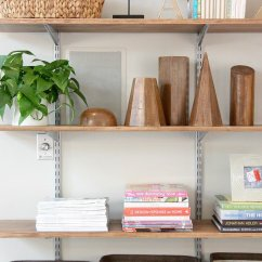 Diy Floating Shelves For My Living Room Warm Colors Walls Popsugar Home