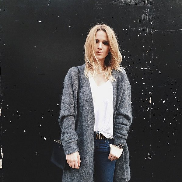 Half-Tucked Into Jeans and Topped With a Cozy Open Cardigan