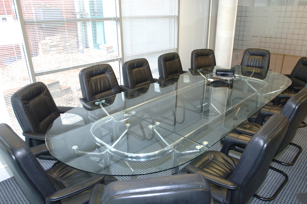 Glass Boardroom table with 12 leather chairs