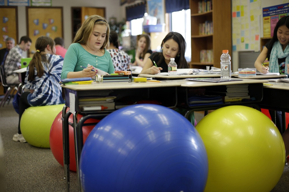 Teachers ditch student desk chairs for yoga balls  TODAYcom