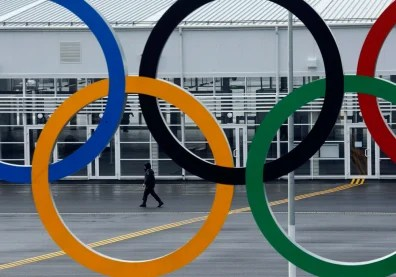 Image: A police officer walks at the Olympic Park in the Adler district of Sochi