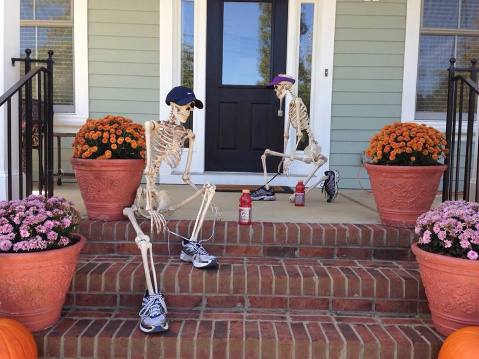 kids foam chair hanging kohls couple decorates house with skeleton scenes - today.com