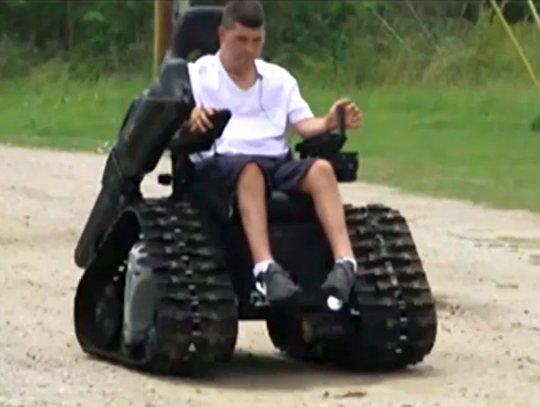 tank chair wheelchair best buy computer vet invents to help paralyzed wife an engineer and combat veteran whose suffers from paralysis built a