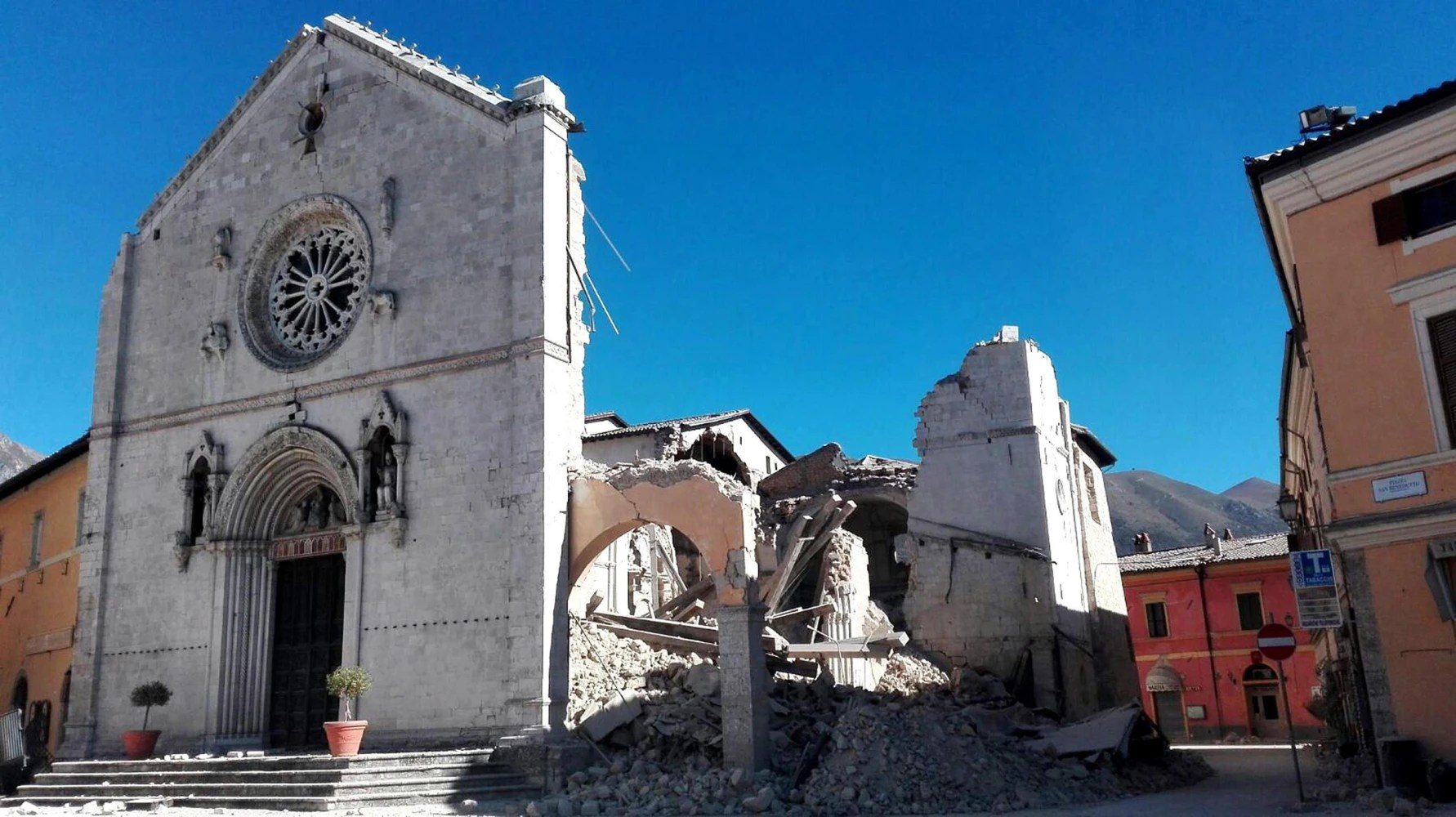 Image result for photos of norcia after the earthquake benedictine abbey