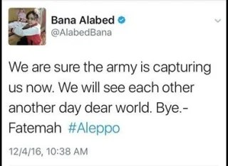 IMAGE: Bana Al-Abed's final tweet