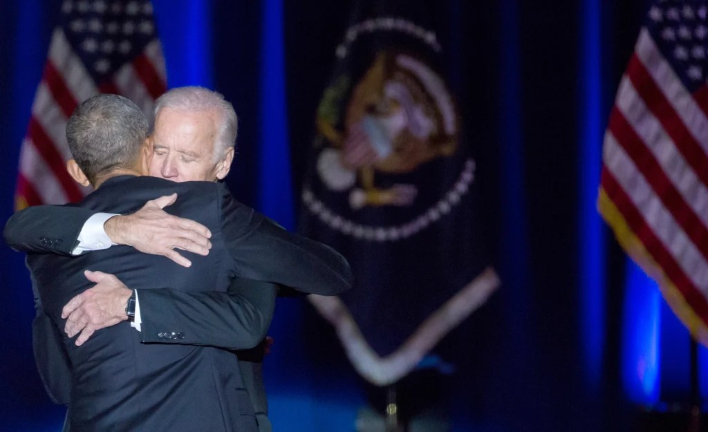 Joe and Barack embrace after the President gives his farewell speech in Chicago. January, 2017.