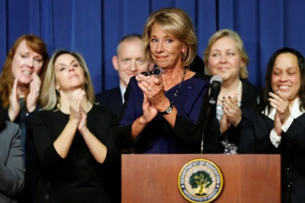 Image: U.S. Education Secretary DeVos concludes her remarks to Education Department staff on her first day on the job in Washington