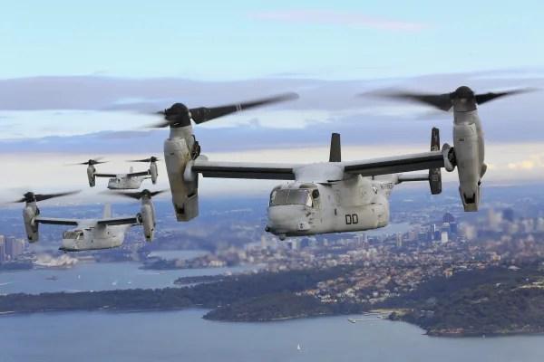 Image: Three Osprey tiltrotor aircrafts