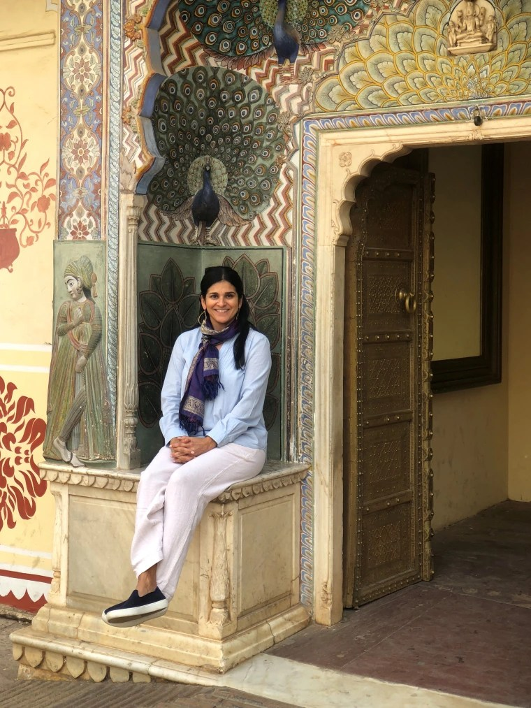 Posing for a photo at the beautiful City Palace in Jaipur, in the Indian state of Rajasthan.