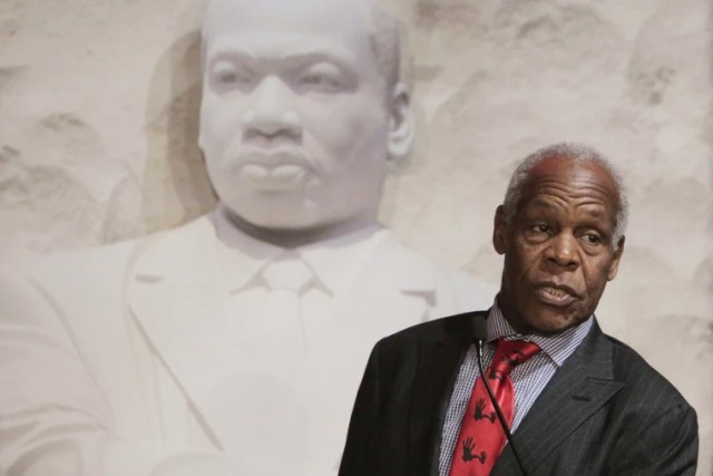 Danny Glover addresses attendees at the 5000 Role Models of Excellence Project 26th Annual Dr. Martin Luther King Jr. Scholarship Breakfast at The Miami Beach Convention Center on Jan. 21, 2019.