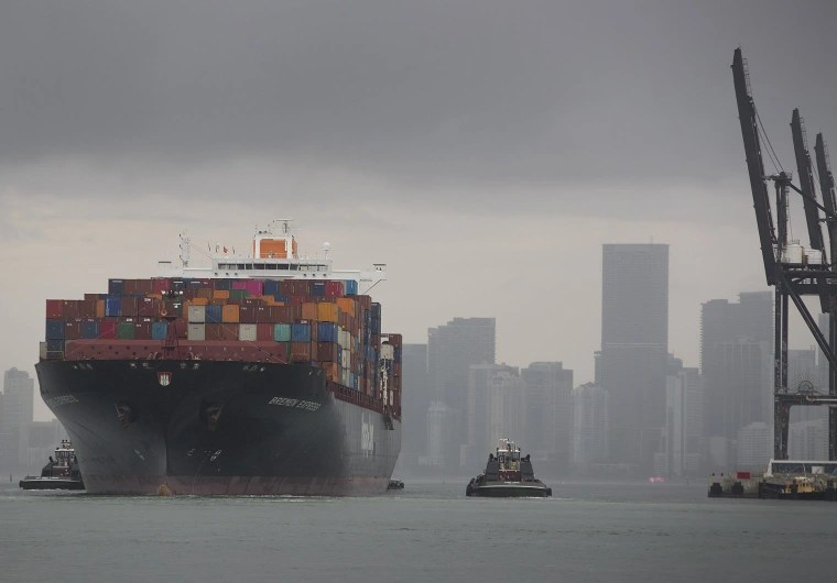 Image: The Bremen Express cargo ship prepares to dock at PortMiami, which saw China as its top trading country in 2018
