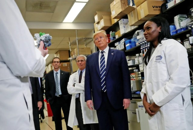 Image: U.S. President Trump participates in briefing at National Institutes of Health Vaccine Research Center in Bethesda, Maryland