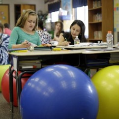 Ball Chairs For Students Chair Covers Hire Bloemfontein Teachers Ditch Student Desk Yoga Balls In Robbi Giuliano S Fifth Grade Class Sit On As They Complete Their Assignments