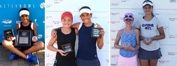 USTA National Championships – Easter Bowl – Indian Wells, CA.Picture on the left:Natasha Rajaram. Middle picture L-R:Natasha Rajaramand Thea Latak.Pictureon the right: Aspen Schuman and Bianca Molnar.