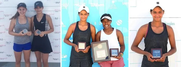 USTA National Championships – Easter Bowl – Indian Wells, CA.Picture on the left: Lauren Joyce and Madison Weekley. Middle picture L-R: Ria Bhakta and Tsehay Driscoll.Pictureon the right: Ria Bhakta.