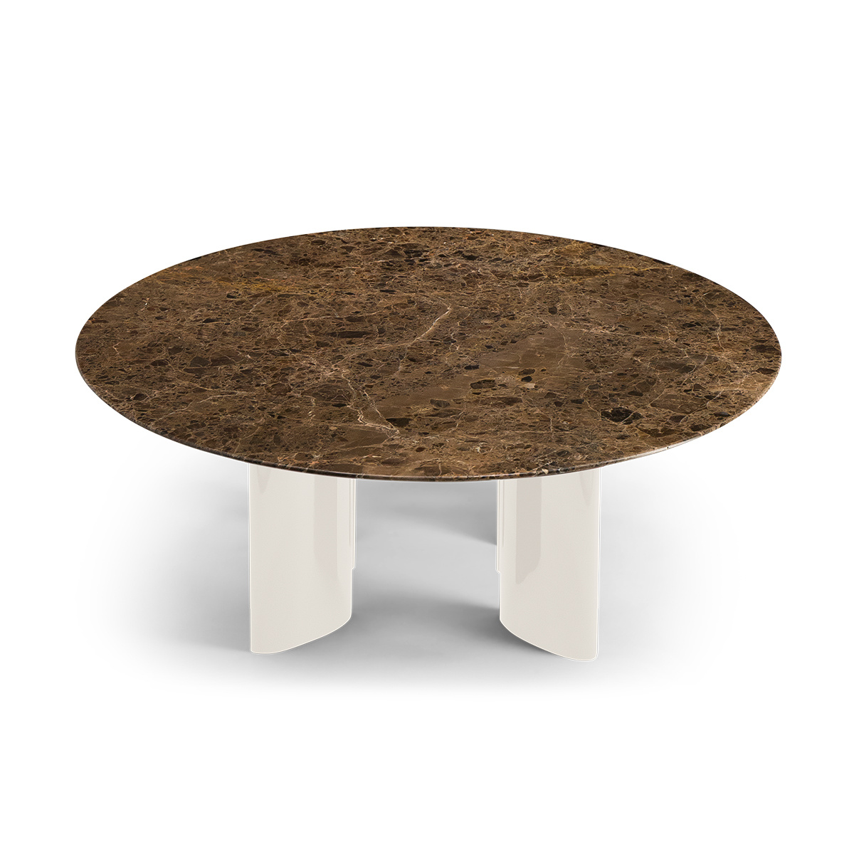 carlotta coffee table brown marble top and cream white lacquered legs