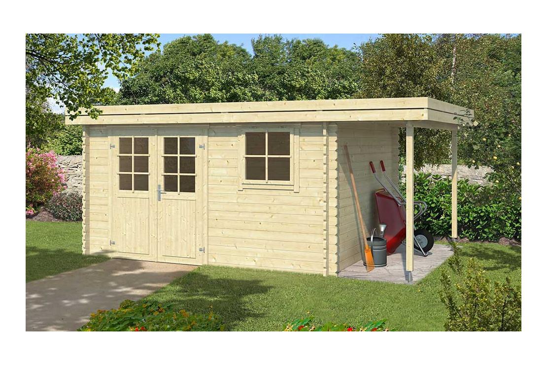 abri de jardin toit plat avec appentis chartres 34mm 10 36 m interieur