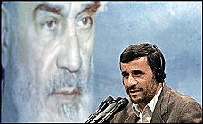 President Mahmoud Ahmadinejad speaks in June before a portrait of Ayatollah Ruhollah Khomeini, leader of the Iranian revolution.