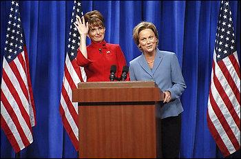 Tina Fey and Amy Poehler as Sarah Palin and Hilary Clinton