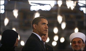 """President Obama went to Istanbul's Blue Mosque during his visit to Turkey, where he said the United States """"is not and never will be at war with Islam."""""""