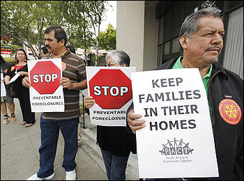 Homeowners facing foreclosure protest outside a J.P. Morgan Chase Bank in Oakland, Calif., in July.