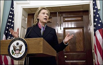 Secretary of State Hillary Rodham Clinton gestures during a statement on the Wikileaks document release, Monday, Nov. 29, 2010, at the State Department in Washington. (AP Photo/Evan Vucci)