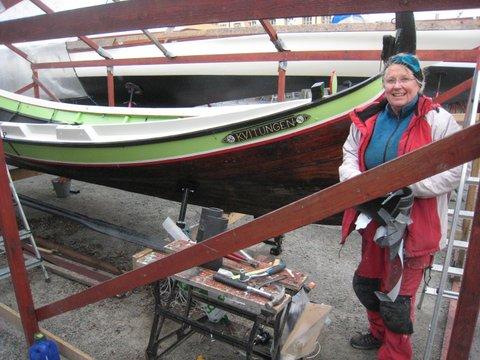 Annelie Lundstedt vid sin Nordlandsbåt
