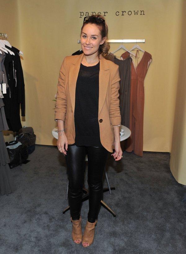 Lauren Married Camel And Black In Crisp Blazer Leather