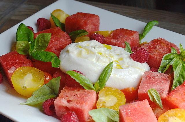 Watermelon, Tomato, and Burrata Salad Recipe | POPSUGAR Food