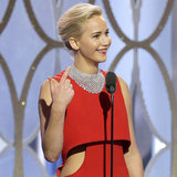 Arrosto Diritto Su di Jennifer Lawrence dellorologio un reporter al Golden Globes