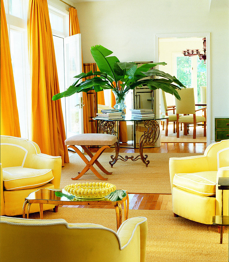Floortoceiling lemonyellow curtains add drama to the living room  Style and Substance