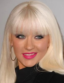 photo of christina aguilera bleach blonde hair and barbie lips lipstick love or hate her