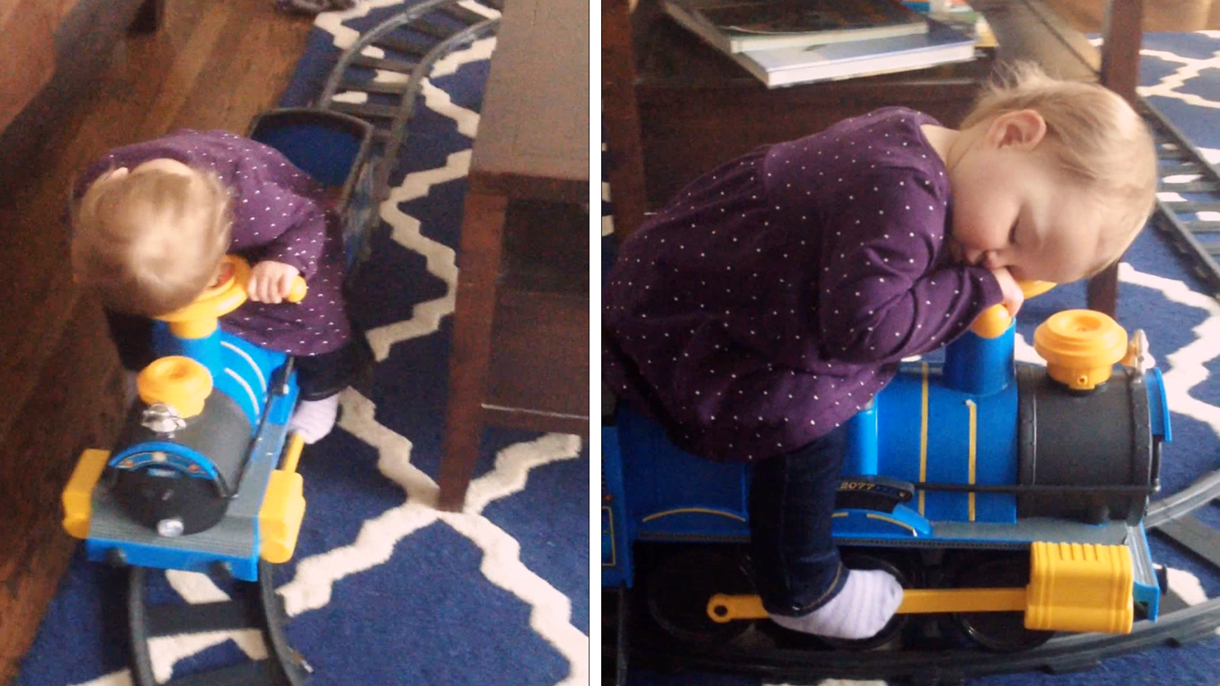 Toddler Adorably Engineers A Nap While Riding A Toy Train