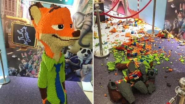 Knocks Over Kid LEGO Sculpture