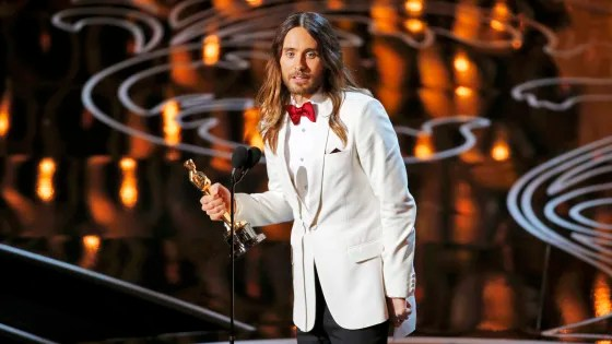 "Image: Leto, best supporting actor winner for his role in ""Dallas Buyers Club"", speaks on stage at the 86th Academy Awards in Hollywood"