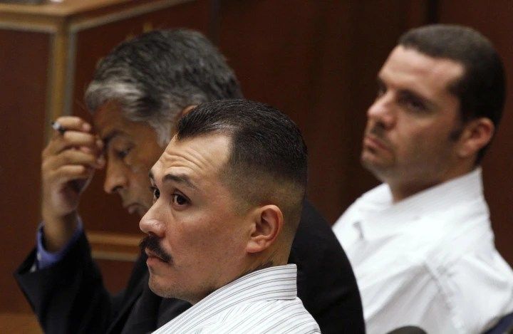 Defendants in the Bryan Stow beating case sit in court during preliminary hearing in Los Angeles